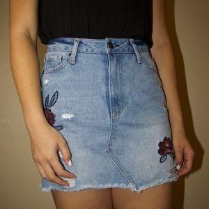Denim Skirt with Flower